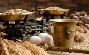 Картинка еда, яйца, зерна, весы