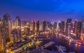 Картинка красиво, панорама, Дубай, ночной город, Dubai, ОАЭ, UAE