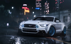 Картинка Mustang, Ford, Car, Front, Night, RTR, Rain, 2016, Musle