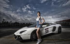 Картинка поза, модель, Lamborghini, суперкар, азиатка, Aventador, Lamborghini Aventador, Lamborghini Aventador LP 700-4, sports car