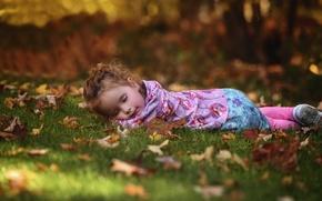 Картинка осень, лес, трава, парк, отдых, листва, ребенок, сон, спит, девочка, лежит, лужайка, боке, обои от …