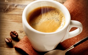 Обои кофе, ложка, кофейные зерна, салфетка