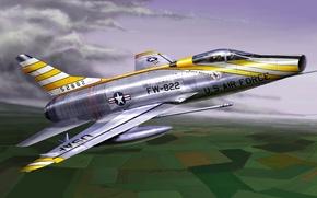 Картинка war, art, painting, aviation, jet, North American F-100 Super Sabre