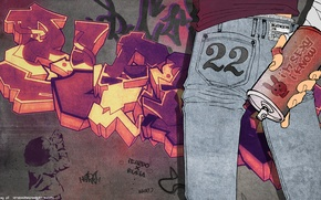 Картинка стена, граффити, джинсы, graffiti, bleach, балончик, kubo tite, kurosaki ichigo