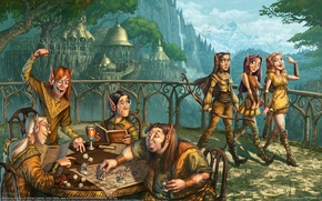 Картинка город, эльфы, играют