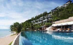 Картинка тропики, пальмы, океан, бассейн, отель, курорт