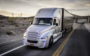 Картинка движение, скорость, трасса, Truck, Freightliner, Daimler, Inspiration