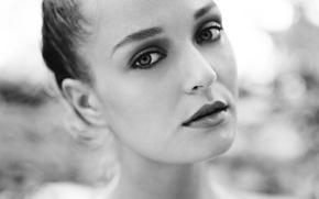 Картинка девушка, лицо, ч/б, черно-белое