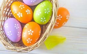 Обои весна, корзина, цветные, Easter, яйца, eggs, пасха