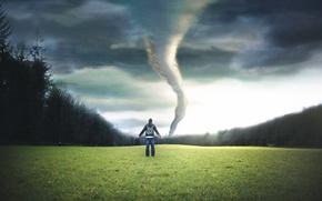 Картинка торнадо, поле, парень