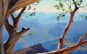 Обои деревья, ветки, природа, скалы, арт, каньон, кривое, artsaus