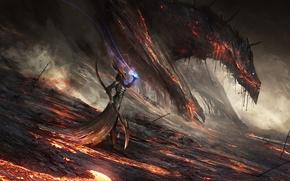 Картинка магия, арт, маг, дракон, девушка, фантазия, посох, лава, огонь
