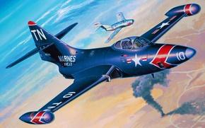 Картинка war, art, painting, jet, Grumman F9F Panther, avaition