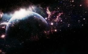 Картинка космос, пространство, фантастика, тьма, планета, мироздание