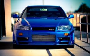 Обои Skyline, ниссан, blue, скайлайн, Nissan, R34, синий, gt-r
