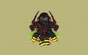 Обои пчела, муха, минимализм, вектор