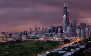 Картинка chicago, storm, city, город, roads, lights, grass, trees, зелень, здания, дороги, houses, sky, тучи, шторм, ...