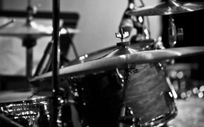 Картинка макро, чёрно-белое, тарелка, барабаны