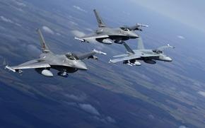 Картинка полет, ландшафт, истребители, F-16, Fighting Falcon, Hornet, CF-18