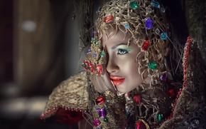 Картинка взгляд, девушка, украшения, лицо, фон, рука, макияж, азиатка