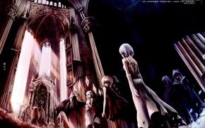 Картинка крылья, вампиры, алтарь, Touhou, Izayoi Sakuya, Remilia Scarlet, art Crowdesu, черная месса, Flandre Scarlet