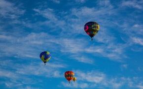 Картинка небо, облака, воздушные шары, аэростаты, монгольфьеры