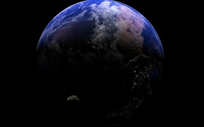 Обои огни, планета, спутник, рельеф