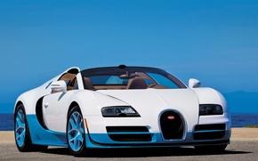 Картинка Roadster, white, Bugatti Veyron, blue, Grand Sport, Vitesse