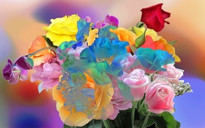 Картинка линии, цветы, краски, роза, букет, лепестки