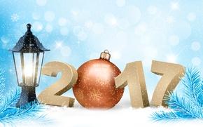 Картинка зима, снег, снежинки, фон, праздник, игрушка, графика, новый год, вектор, шарик, цифры, фонарь, хвоя, снегопад, ...