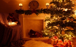 Обои christmas, xmas, merry, fireplace, decoration, рождество