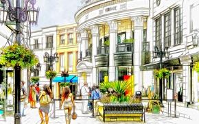 Картинка город, люди, улица, дома, штрих