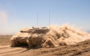 Картинка пыль, танк, боевой, бронетехника, Leopard 2 A4