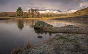 Картинка камни, озеро, небо, снег, горы, деревья, пейзаж