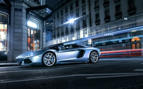 Картинка Roadster, Lamborghini, City, Front, LP700-4, Aventador, Supercars, Road, Silver, Door, Ligth