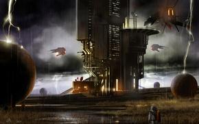 Картинка planet, astronaut, outpost