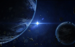 Картинка пространство, звезда, планеты, астероиды