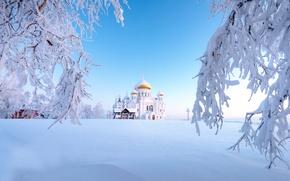 Картинка зима, снег, Россия, Урал, Белогорский монастырь