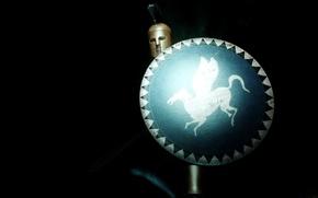 Картинка фон, меч, доспехи, воин, шлем, щит