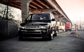 Картинка мост, чёрный, ограждение, black, land rover, колоны, range rover, передок, ренж ровер, ленд ровер