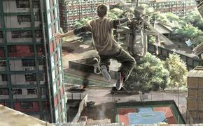 Обои свобода, город, прыжок, вертолёт, парень, Man vs Helicopter