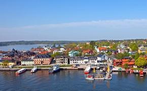 Картинка город, побережье, причал, пирс, Швеция, Vaxholm