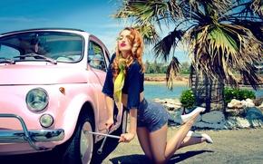 Картинка авто, девушка, ключ, vintage, retro, Pin up, Marianna Anagnostopoulou