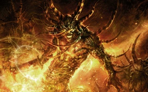 Обои Molten Core, WoW, монстр, огонь
