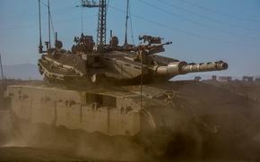 Картинка пыль, танк, боевой, основной, Merkava, Израиля, Mk.3, «Меркава»