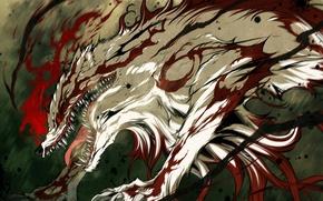 Картинка кровь, монстр, аниме, пасть, клыки