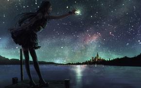 Обои арт, аниме, город, луна, озеро, девушка, ночь, небо, звезды