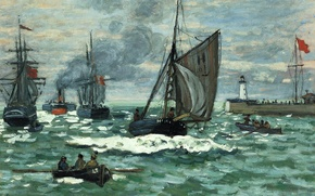 Картинка Клод Моне, картина, корабль, лодка, море, маяк, Вход в Порт Онфлёра, морской пейзаж, парус