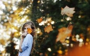 Картинка листья, настроение, девочка