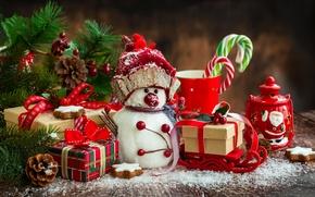Картинка украшения, игрушки, елка, Новый Год, Рождество, снеговик, Christmas, Xmas, decoration, Merry